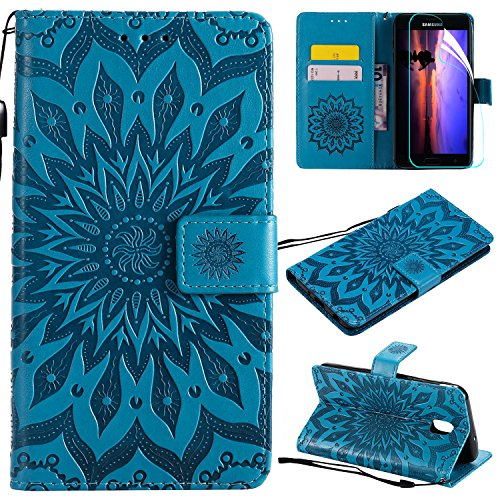 Price comparison product image Galaxy J7 2018 Case with Screen Protector, For Samsung Galaxy J7 Aero / J7 Star / J7 Top / J7 Crown / J7 Aura / J7 Refine / J7 Eon Case Flip Case, PU Leather Mandala SUN Flower Wallet Case with Card Slots Blue