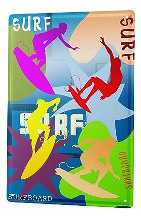 leotie fashion&lifestyle Cartel de chapa Placa metal tin sign Deportes Tabla de surf surfista silueta Letrero