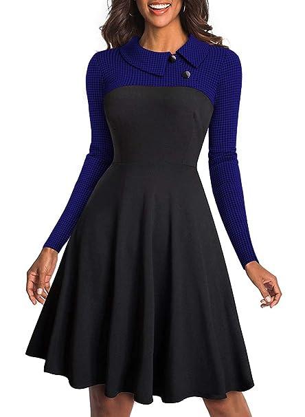 Aleumdr Mujer Vestido Ceremonia Elegante Falda Vintage Vestido de Mujer con Botón Azul Size S