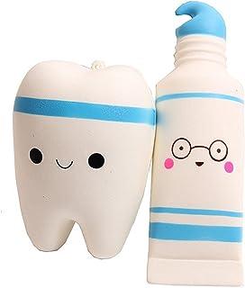 Kfnire diente y pasta de dientes Juguete de alivio de tensión juguete para adultos (azul
