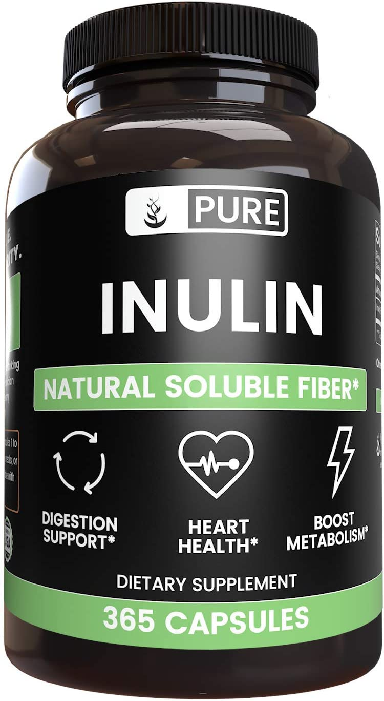 Inulin FOS, 365 Capsules, 1280mg Serving, Made from Jerusalem Artichoke, Non-GMO, Gluten-Free, 100% Pure & Natural, No Additives or Filler, Lab-Tested, Made in The USA, Satisfaction Guaranteed