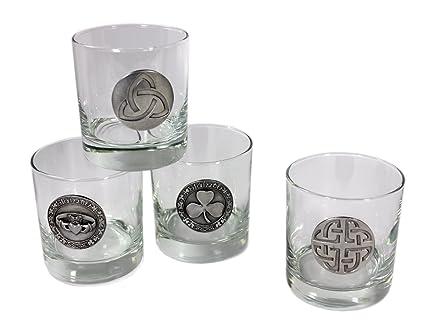 Amazon Whiskey Glasses With Pewter Celtic Symbols 4 Set Old