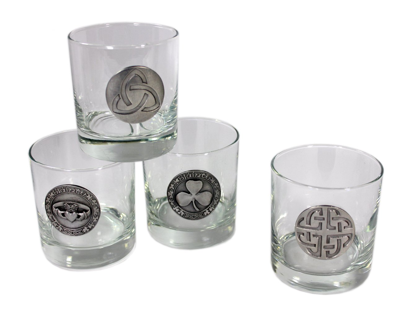 Whiskey Glasses with Pewter Celtic Symbols 4 Set