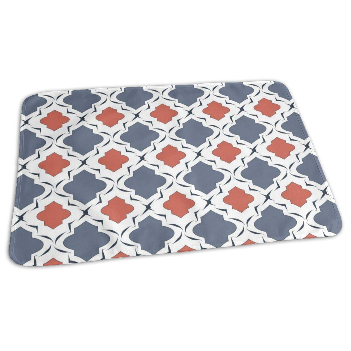 Osvbs Lovely Baby Reusable Waterproof Portable Nautical Quatrefoil with Blue and Coral Colors Vector Changing Pad Home Travel 27.5''x19.7'' by Osvbs