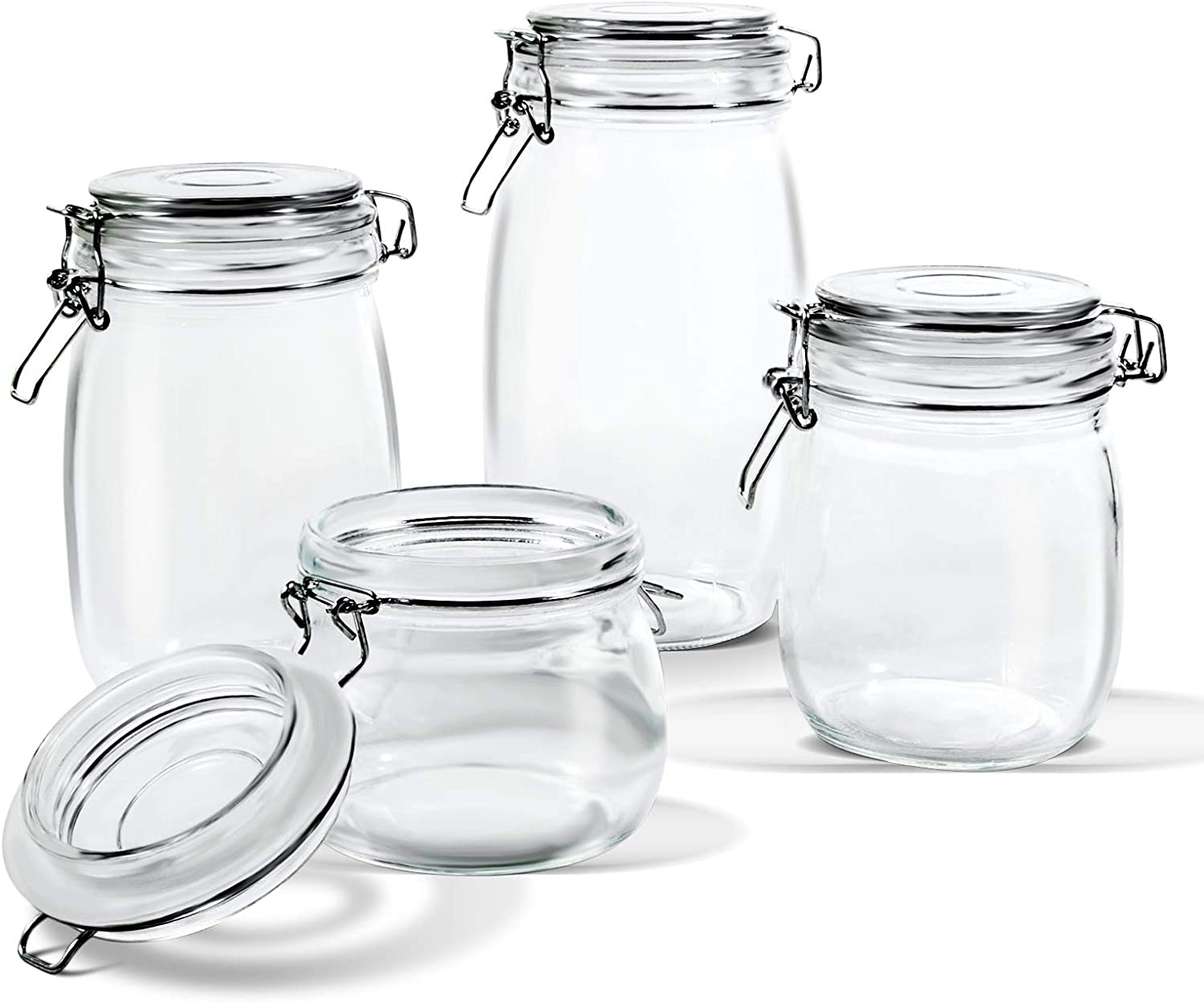 Amazon Com Glass Storage Jars With Airtight Hinged Lid Leak Proof Gasket Clear Canister For Oats Canning Cereal Pasta Sugar Coffee Nuts Spices Set Of 4 Food Preserve Container Jars Home Improvement