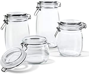 Glass Storage Jars with Airtight Hinged Lid Leak Proof Gasket Clear Canister for Oats Canning Cereal Pasta Sugar Coffee Nuts Spices Set of 4 Food Preserve Container Jars