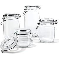 Masthome 4 Piece Glass Jar Set with Sealing Lid Kitchen Container Set(16.9oz,25.7oz,33.8oz,50.7oz)