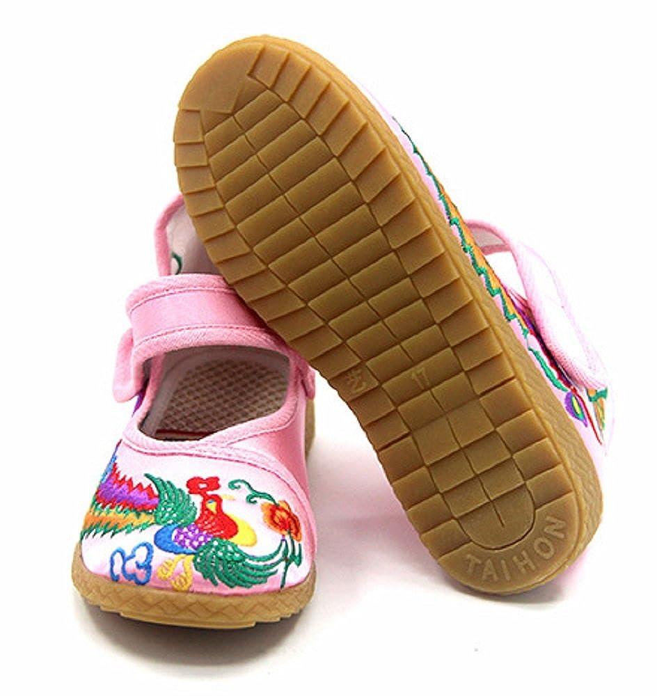 Tianrui Crown Children Girls Phoenix Embroidery Mary-Jane Shoes Kids Cute Flat Cheongsam Shoe