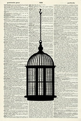 Art Wall Cage (Victorian Art Print - Birdcage Art Print - Vintage Art Print - Vintage Dictionary Art Print - Black & White - Book Art Print - Wall Art - Illustration - Picture - Artwork 821D)