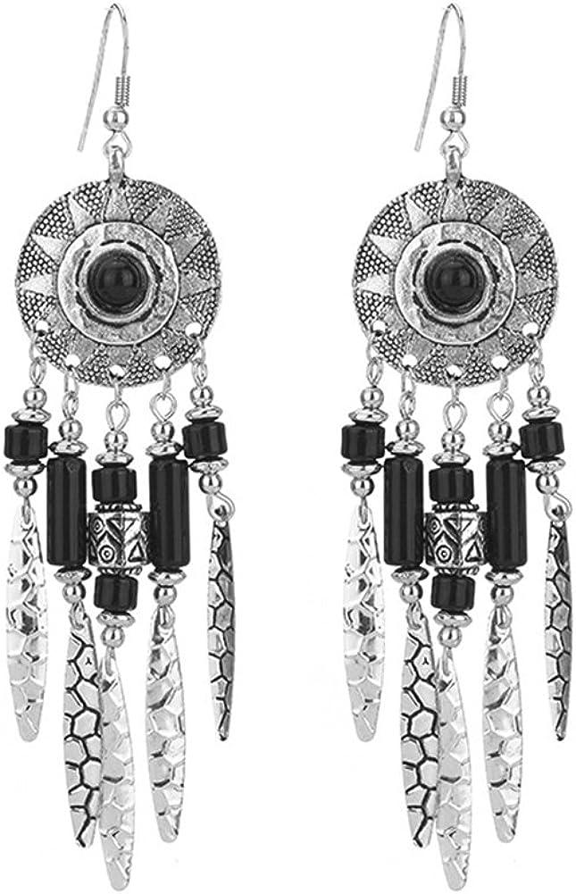 Leisial Aleación de las mujeres Pendiente Bohemia Retro Turquesa Atrapasueños Borlas Cuelgan Gotas Pendientes Plumas Abalorio Regalo de Plata Antigua