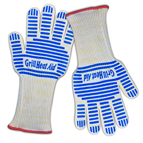 """Heat Resistant Grill Gloves: Premium Insulated Mitts for Cooking, BBQ & Baking - Professional Indoor Outdoor Kitchen & Oven Accessories, Small-Medium Size Hand, Longer Cuff 5.5"""""""