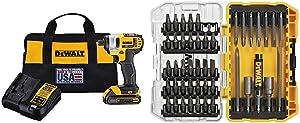 DEWALT 20V MAX Impact Driver Kit, 1/4-Inch (DCF885C1) & Screwdriver Bit Set with Tough Case, 45-Piece (DW2166)
