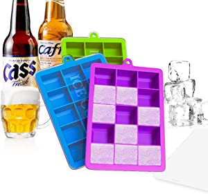 Ice Cube Trays, Ouddy 3 Pack Silicone Ice Cube Molds with Lid, Flexible 15-Ice Tray for Whiskey Cocktail
