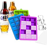 Ice Cube Trays, Ouddy 3 Pack Silicone Ice Cube Trays Molds with Lid, Flexible 15-Ice Tray for Whiskey Cocktail