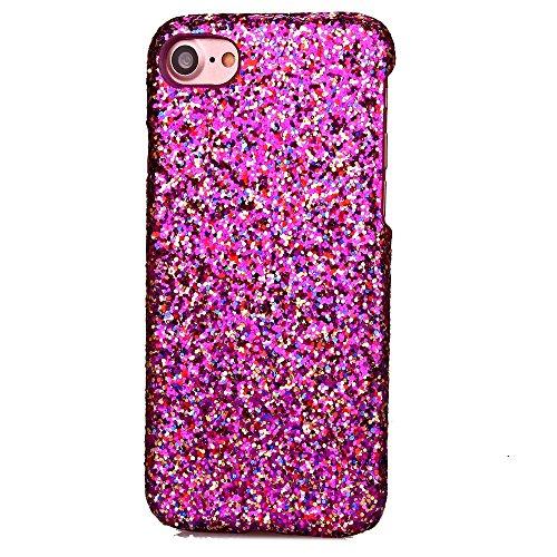Glittery Powder Leather Coated Hard PC Back Tasche Hüllen Schutzhülle Case für iPhone 7 - Rose