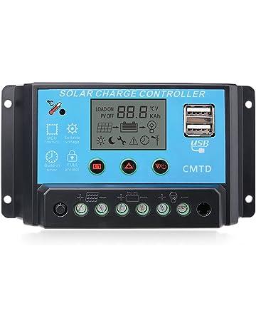 Sunix® Regulador 12V-24V Controlador Carga Inteligente Panel Solar 20A Parte USB, Pantalla