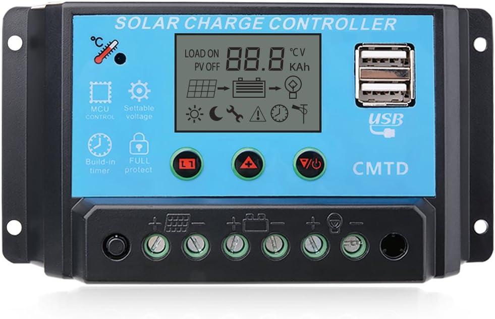 Sunix 20A 12V-24V Controlador de carga Inteligente Panel Solar, Parto USB, pantalla LCD protección de sobrecarga