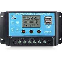 Sunix 10A 12V-24V Controlador de carga Inteligente Panel Solar, Parto USB, pantalla LCD protección de sobrecarga