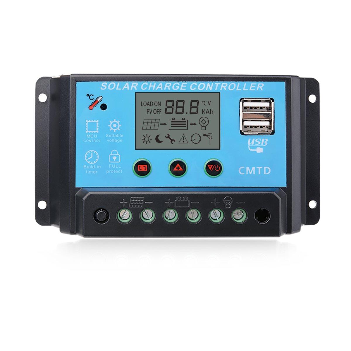 Sunix 20A 12V/24V Solar Charge Controller Charge Regulator Intelligent, USB Port Display Overload Protection Temperature Compensation by Sunix