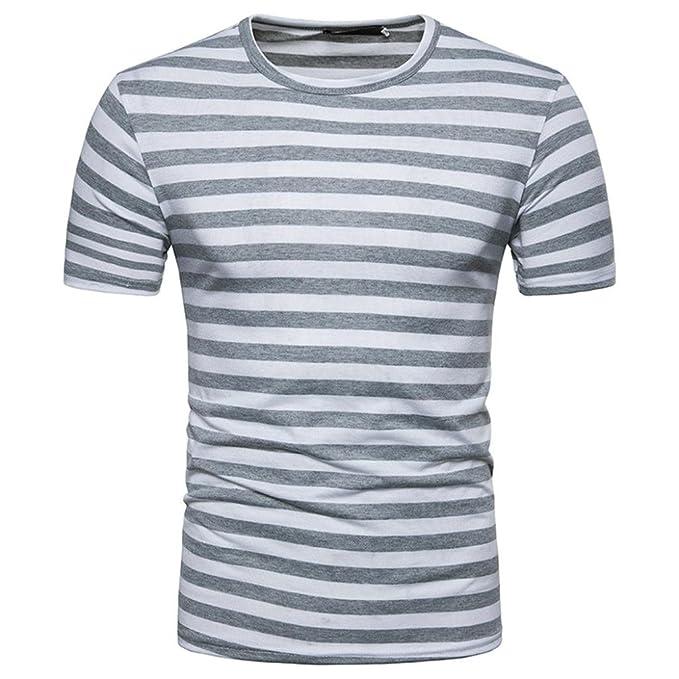 Zarupeng Camisetas Manga Corta Hombre Moda Camisetas Blusa superior del verano de la raya del cuello