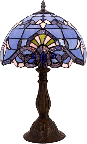 Tiffany Lamp W12H18 Inch Blue Purple Baroque Style Stained Glass Lavender Shade Antique Table Reading Desk Light Base S003C WERFACTORY LAMPS Lover Parent Living Room Bedroom Bar Bedside Art Craft Gift