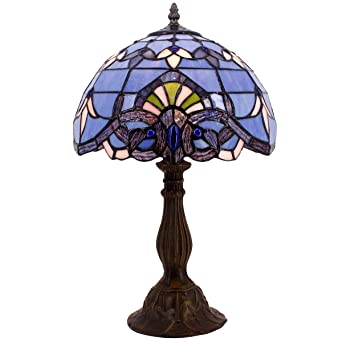 Blue Purple Baroque Tiffany Style Table Lamps Lighting W12h18 Inch
