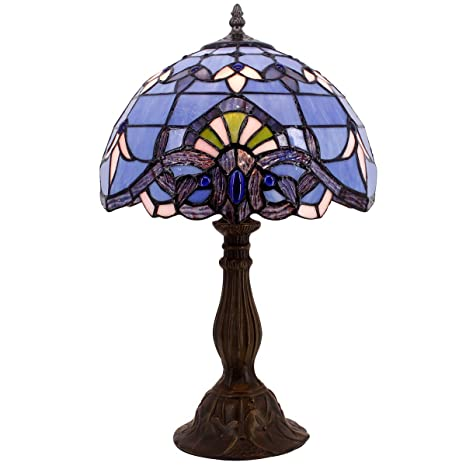 655da38668a5 Blue Purple Baroque Tiffany Style Table Lamps Lighting W12H18 Inch Lavender Stained  Glass Lampshade Antique Base