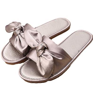 ZongsenC Femmes Nœud Papillon Sandales Pantoufles Occasionnels Chaussures  De Plage Pantoufles en Satin  Amazon.fr  Chaussures et Sacs 1d599a3b8c7e
