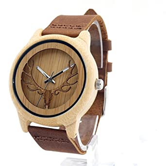 Hirsch Unisex Holz Armbanduhr Naturholz Bambus Uhr Retro Quarz Leder