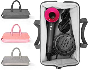 Travel Case for Dyson Hair Dryer Bag Storage Carrying Case for Dyson Supersonic Hair Dryer Styler Accessories Protection Organizer (Dark Gray)