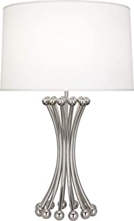 product image for Robert Abbey S475 Jonathan Adler Biarritz - One Light Table Lamp, Polished Nickel Finish with Ascot White Fabric Shade