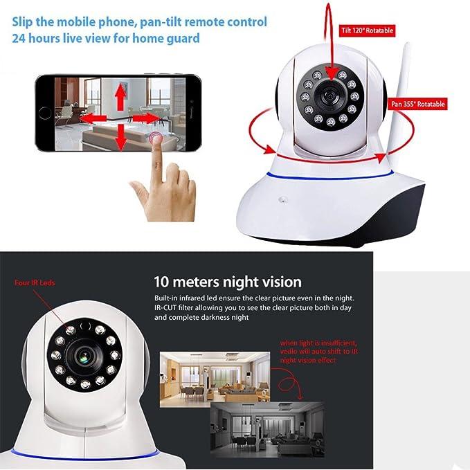 leftek Smart Home Guard inalámbrico/con cable Cámara IP 720P WIFI Seguridad para el hogar CCTV cámara de vigilancia P2P visión nocturna por infrarrojos 3.00 ...