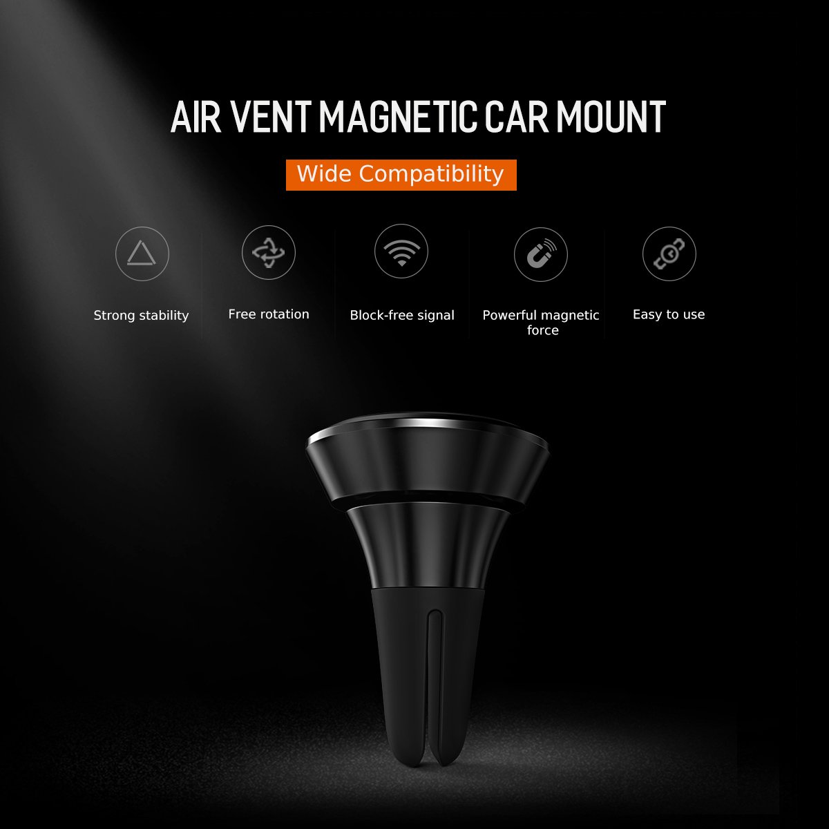Samsung Galaxy S6//S7//S8//S9//Plus /& All Smartphones /& Mini Tablets ROCK SPACE Mini Super Strong Magnet Elegant Luxury Design for iPhone X,8//7//6//6s Plus Magnetic Phone Holder for Car Air Vent