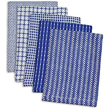 """DII 100% Cotton, Ultra Absorbent, Everyday Kitchen Basic, Fun and Cute Color Dish Cloth 12 x 12"""", Combo Gift Set of 5- Blue"""