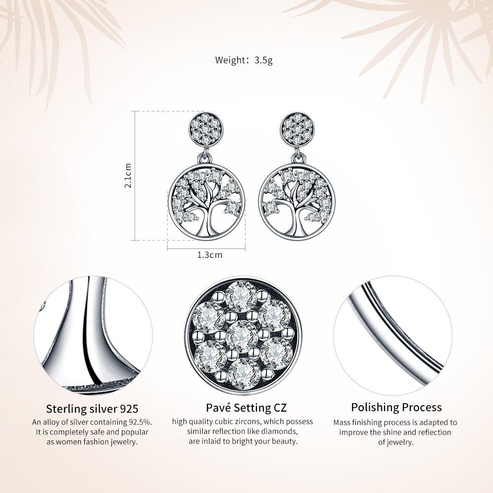 Vogzone Silver Family Tree of Life Earrings Drop Dangle Earrings Cubic Zirconia Stud Earrings Jewelry Great Gifts