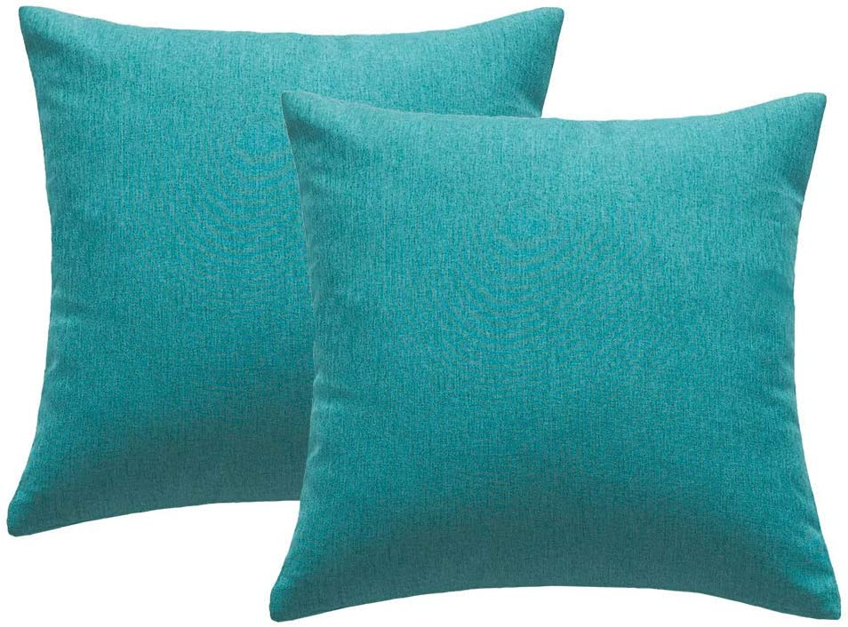 Outdoor Waterproof Throw Pillow Covers Garden Cushion Case for Patio Couch Sofa Polyester Cotton Home Decoration Pack of 2, 18x18 Inch Turquoise