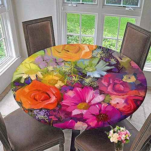Round Polyester Tablecloth Table Cover Flower Bouquet with Daisy Peony Gerbera Petals Romantic Arrangement Print for Most Home Decor 43.5