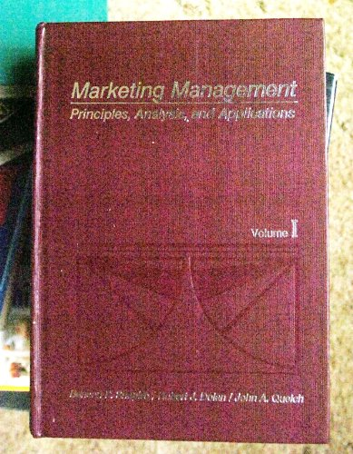 Marketing Management: Principles, Analysis and Applications (Irwin Series in Marketing)