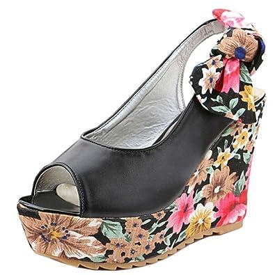 Zanpa Damen Flatform Sandalen Keilabsatz