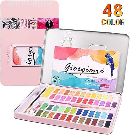 Juego de pintura acuarela para niños, suministros de arte para pintura para adultos, adolescentes, artistas, 48