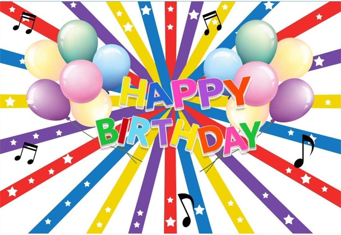 Yeele 10x8ft Happy Birthday Photography Background Cartoon Music Festival Ribbon Note Colorful Balloon Birthday Party Decoration Girl Boy Child Photo Backdrop Portrait Studio Props