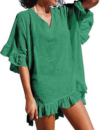 MOMOXI Vestido para Mujer, Traje de baño de Moda para Mujer Traje de baño de Playa Vestido de baño Sexy Smock Vestido de Verano