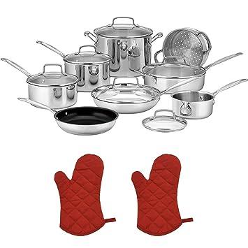 Cuisinart 77 - 14 N CHEF de Classic (14 piezas), de acero inoxidable con 2 x rojo manopla para horno: Amazon.es: Hogar