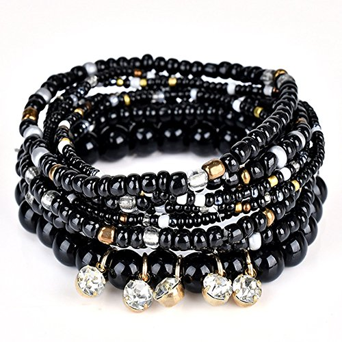 - DINGFASHION Bohemian Stretch Multilayer Stackable Bracelets,Colorful Bead Crystal Beach Bangle for Womens