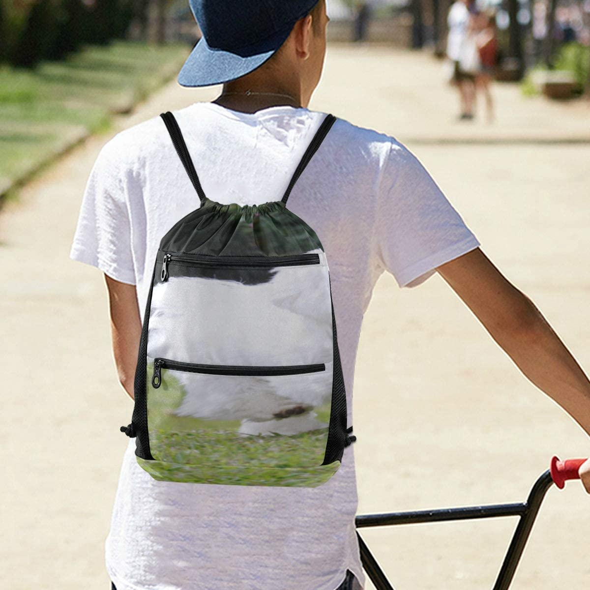 Small Backpack For Men Long Hair Maltese White Pet Unisex Drawstring Bags Bags For Women Lightweight With Zipper Pocket Sports Athletic School Travel Gym Cinch Sack