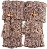 Windy5 1 par de punto calentadores de la pierna ganchillo de las mujeres de arranque puños calentador de la pierna de la mujer Boho Botas Calcetines Señora de arranque de invierno