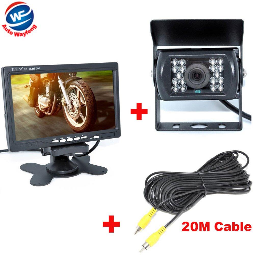 Auto Wayfeng/® usine de vente 18 IR invers/ée Camera NEW 7 LCD moniteur arri/ère de voiture Voir Kit Car Cam/éra bus et camion capteur de stationnement avec 20M C/âble vid/éo