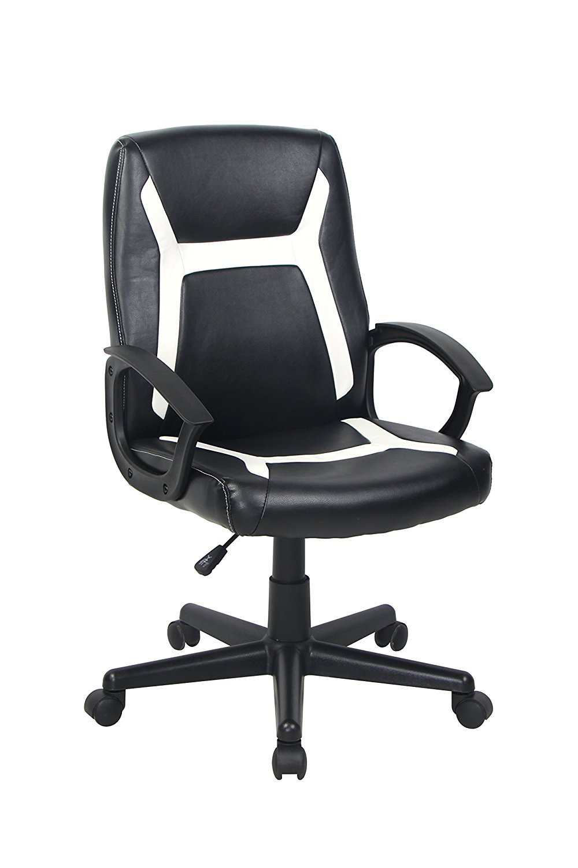 BONUM Ergonomic Bonded Leather Mid-Back Task Office Chair Adjustable Desk Chair with Armrest Swivel Desk Chair (Black)