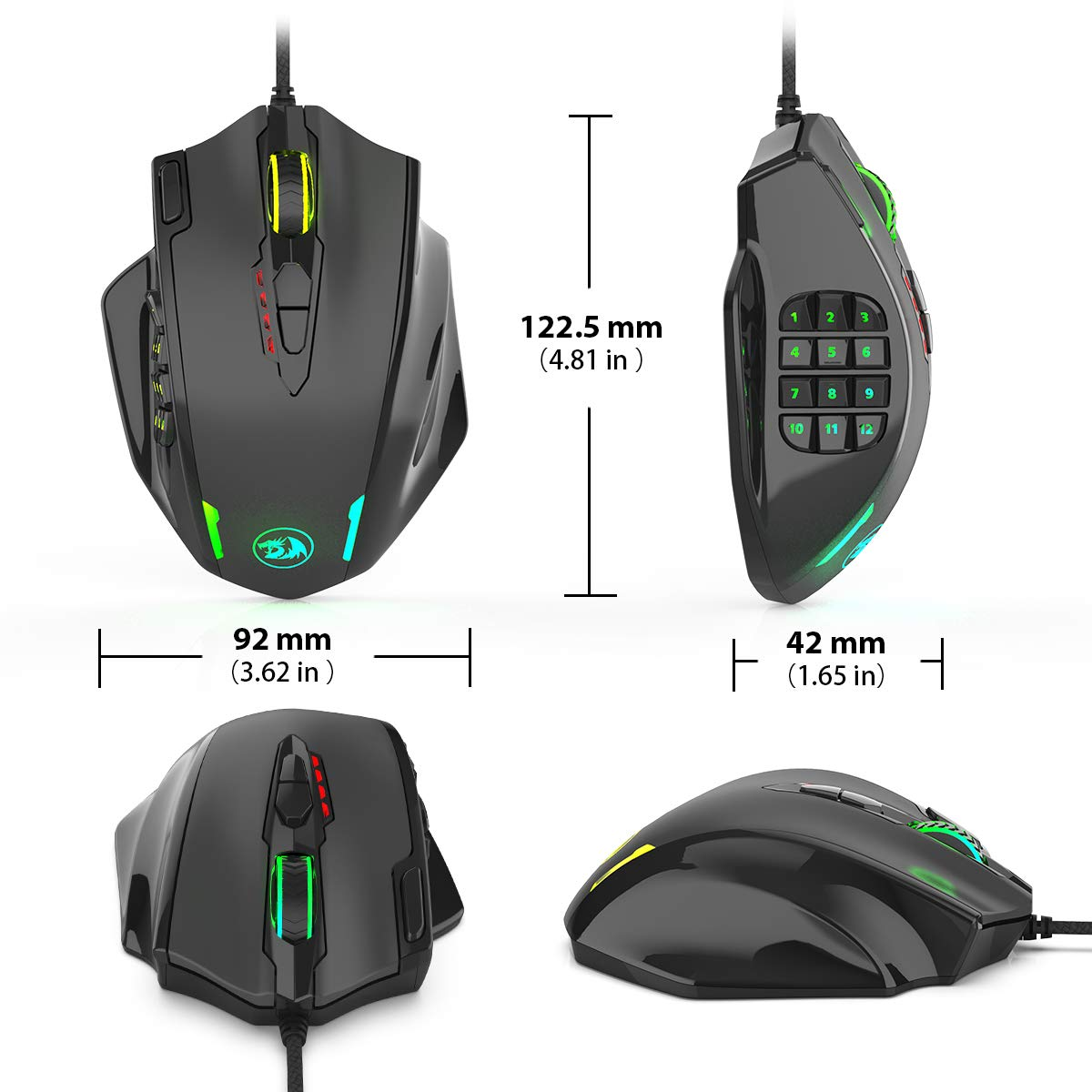 Redragon Impact RGB LED MMO Mouse with Side Buttons Laser Wired Gaming Mouse with 12,400DPI, High Precision, 19 Programmable Mouse Buttons by Redragon (Image #2)