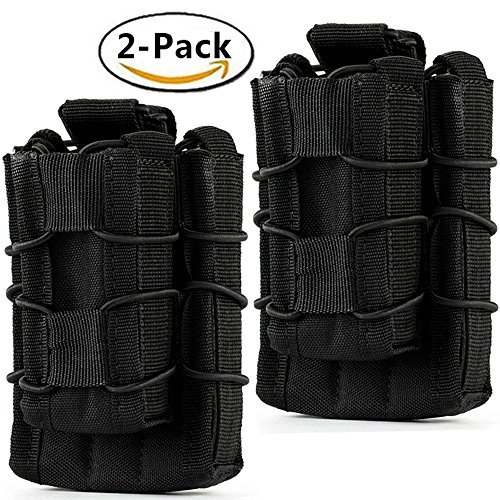 Clips And Mags - Hoanan Double Mag pouch, Tactical Molle Magazine Pouch Open-Top Single Rifle Pistol Mag Pouch Cartridge Clip Pouch Hunting Bag (2pack-Upgrade black)